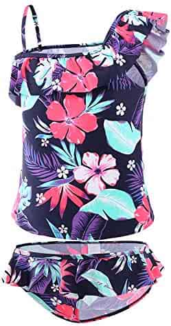 Cotrio Women High Waisted Swimsuit Set Girls Two Pieces Ruffle Flounce Bikini Swimwear