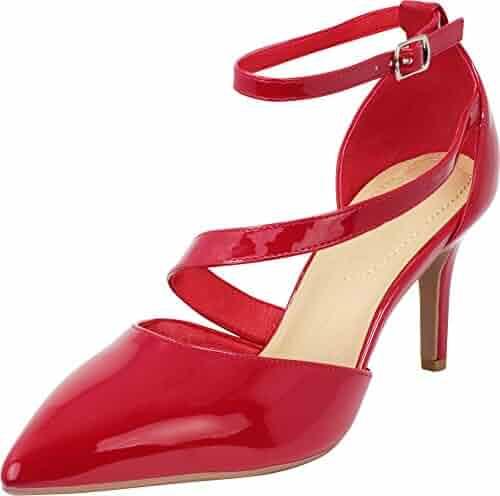 b287e89b8e9 Cambridge Select Women s Pointed Toe Strappy Mid Stiletto Heel Dress Pump