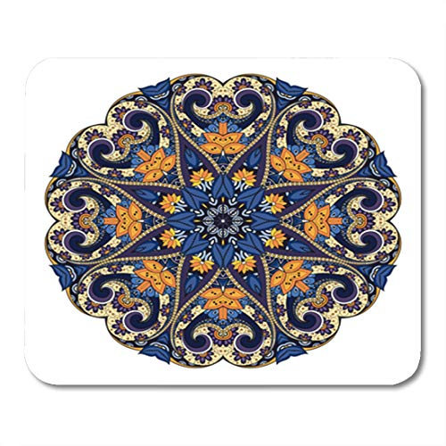 Semtomn Gaming Mouse Pad Asian Beautiful Colored Mandala Patterned Ethnic Amulet Bohemian Arabesque 9.5