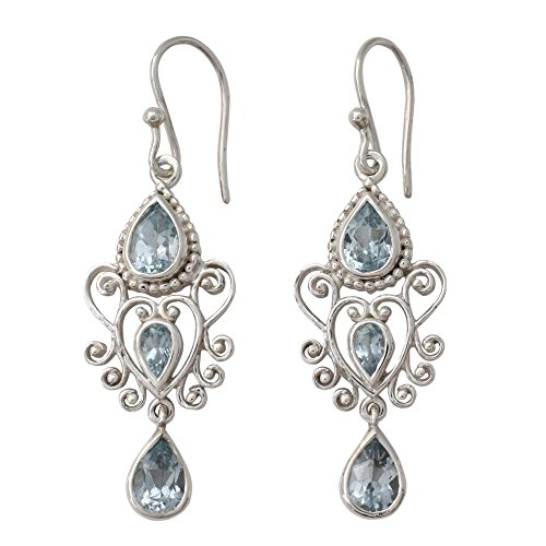 NOVICA Blue Topaz .925 Sterling Silver Dangle Earrings 'Enchanted Princess'