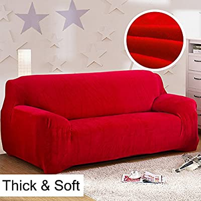 Thick Sofa Covers 1234 Seater Pure Color Sofa Protector Velvet Easy Fit Elastic Fabric Stretch Couch Slipcover size 3 Seater:195 230cm (Red)