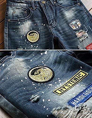 Moda Pantaloni Maschile Blau Da Denim Ssig Jeans Lavaggio Retro Outdoor Cher Straight Abbigliamento Holes In Uomo wqwrTFX