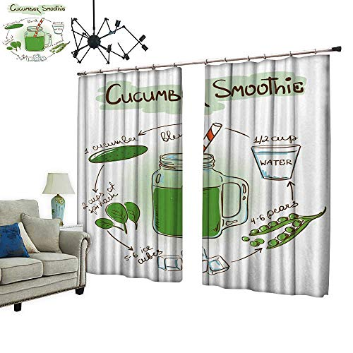 (PRUNUS Fashion Window Curtain with hooksketc Cucumber Smoothie inclu Recipe redients Radiation Protection,W96.5)