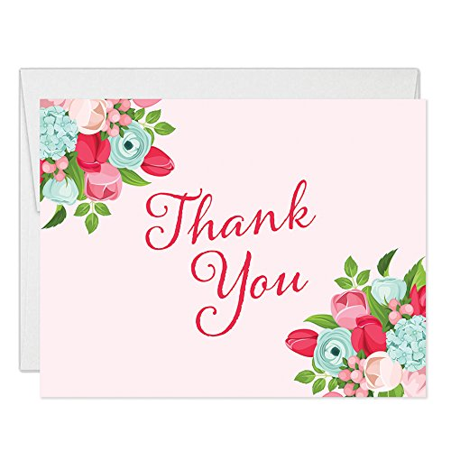 Amazon Com 50 Thank You Cards With Envelopes Pack Of 50 Pink