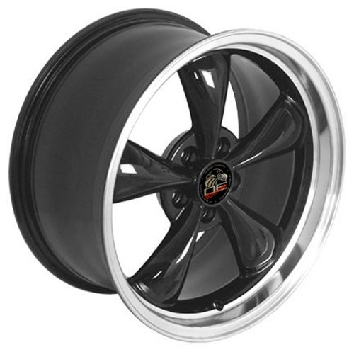 18 Inch Fits Ford Mustang 1994-2004 Bullitt Style FR01 Black with Machined Lip 18x9 Rim Hollander 3448 Center cap included, factory center cap will interchange