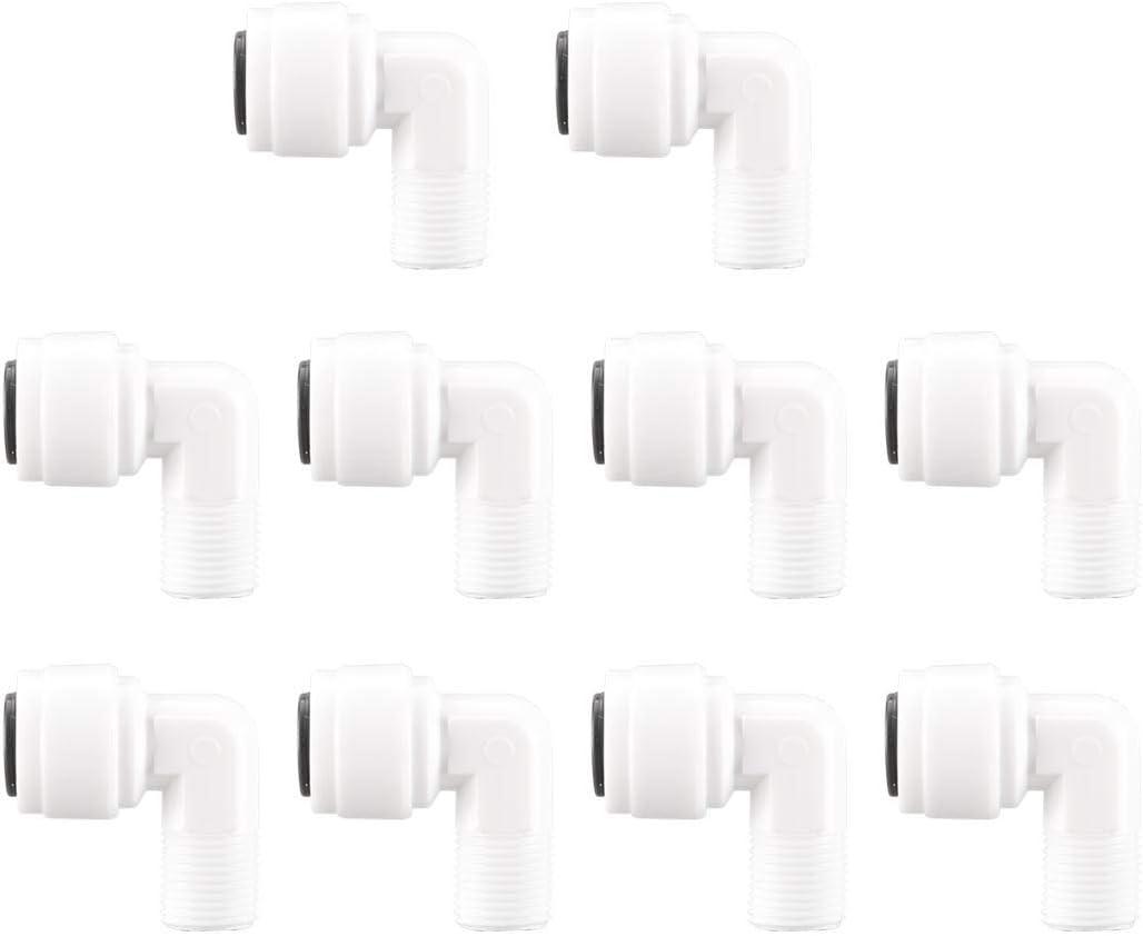 Sourcingmap 10 unidades Purificadores de agua de 1//8 pulgadas BSP macho a 1//4 pulgadas OD tipo L de conexi/ón r/ápida accesorios de tubo para tubo de manguera de /ósmosis inversa