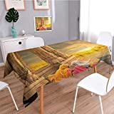 SCOCICI1588 Water Resistant Tablecloth India Women in a Temple Holy Heritage Earth Yellow Pink Great for Buffet Table, Parties, Holiday Dinner, Wedding & More-W54 x L72
