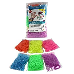 Loom Rubber Bands - 3600 Glow in the Dark Neon Rubber Band Refill Value Pack with Clips (600 Each of 6 Colors) - Latex Free
