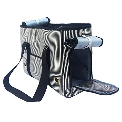 BUYITNOW Portable Strip Pet Carrier Purse Travel Soft Sided Oxford Tote Shoulder Hand Bag for Small Medium Large Dogs and Cats by BUYITNOW (Image #1)