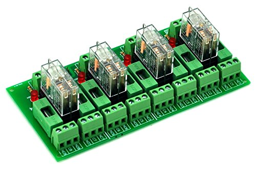 (ELECTRONICS-SALON Fused 4 DPDT 5A Power Relay Interface Module, G2R-2 5V DC Relay)