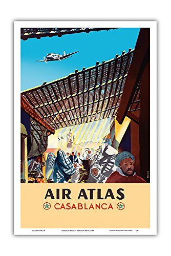 Casablanca  Morocco   Air Atlas   Vintage Airline Travel Poster By Renluc C 1950   Master Art Print   12In X 18In