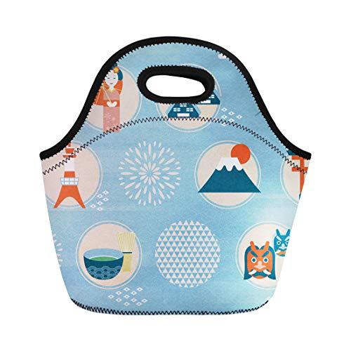(Semtomn Neoprene Lunch Tote Bag Japan Culture Symbol Adorable Japanese Traditional in Flat Country Reusable Cooler Bags Insulated Thermal Picnic Handbag for Travel,School,Outdoors, Work)