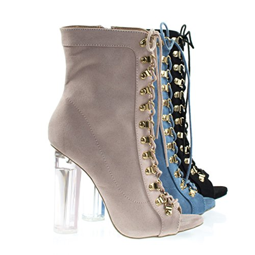 Perspex Heel Military Corset Lace Up Combat Bootie, Clear Transparent Nude F-suede