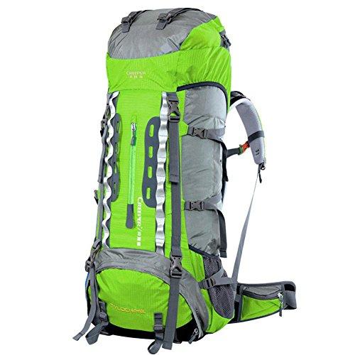 70L de gran capacidad de bolsa de viaje de la moda hombres y mujeres Mochila doble mochila del hombro a prueba de agua , gold Green