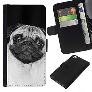 HTC Desire 820 - Dibujo PU billetera de cuero Funda Case Caso de la piel de la bolsa protectora Para (Cute Happy Pug Dog)