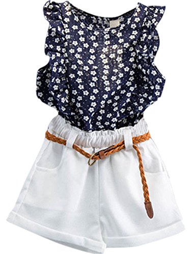 - TIFENNY 3PCS Baby Girls Summer Outfit Clothes T-Shirt Tops+Shorts Pants Set (3/4T) Navy