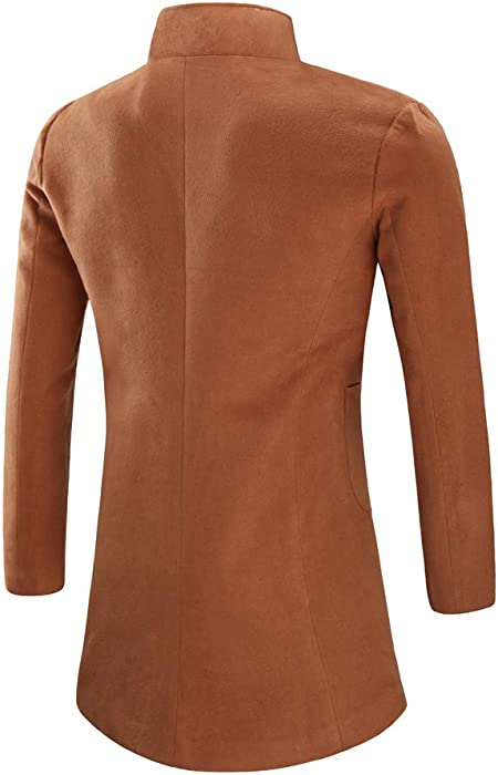 40f6457194a6f ODJOY-FAN-Maschio Sezione Media e Lunga vestibilità Slim Cappotto Peloso  Cappotto da Uomo Trench Long Outwear Button Overcoat Coats Giacche Cappotti