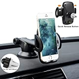CARPRO Smartphones Button Release Car Holder Universal Car Mount Cell Phone Holder to Air Vent Windshield Dashboard for iPhone 7 Plus 6 6s Plus 5s Se Samsung Galaxy S7 Edge S6 S5 and More- Black