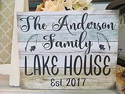Amazon Com Uniquepig Personalized Family Name Lake House Wood Signs