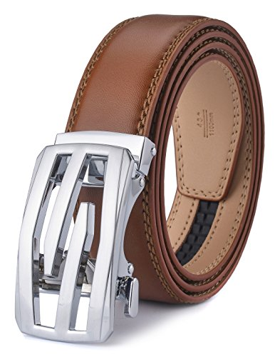 (plyesxale Men's Leather Ratchet Dress Belt- Length is Adjustable - Delicate Gift Box (Waist Size:36-44