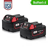 M18 Battery, Batteriol 18 Volt 5.0Ah XC Lithium-ion Battery Pack for Milwaukee Redlithium Cordless Tools M18 48-11-1815 48-11-1820 48-11-1828 48-11-1850 Extended Capacity Battery - 2Pack