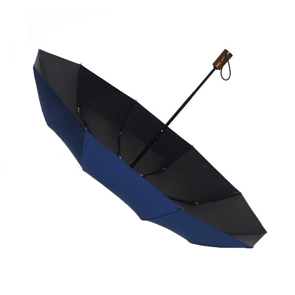 Exquisite wooden handle ten bones increase strong windproof automatic simple men's business three folding clear umbrella (blue)