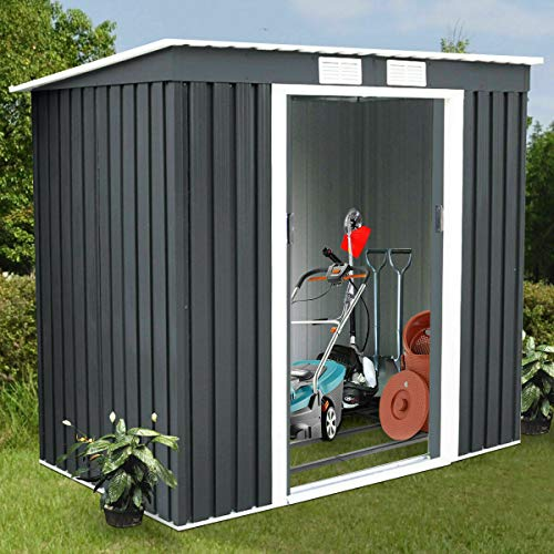 (Galvanized Steel Equipment Storehouse 4'X7' Outside Patio Pool Garden Yard Dark Gray Body Beige Roof Storage Shed Elegant Appearance Tool House Sliding Door Ventilation Windows)