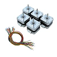 ECO-WORTHY 5pcs Nema 17 12V High Torque Stepper Motors w/ Cables & Connectors for 3D Printer/CNC from ECO-WORTHY