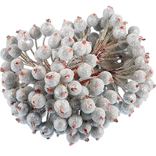 BBTO 100 Wired Stems of Artificial Holly Berries Artificial Flower Decor 200 Pack 12 mm Mini Christmas Frosted Fruit Berry (Silver)