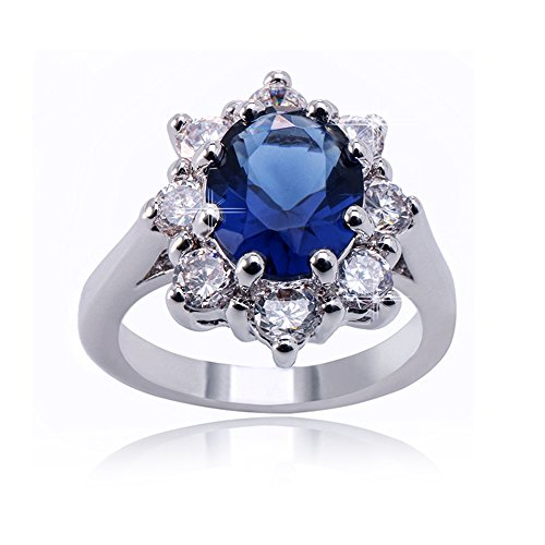 (Delicin Jewelry Blue Color Rhodium Plated Cubic Zirconia Oval Cut Ring)