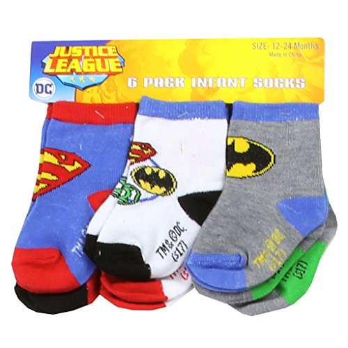 DC Comics Baby Boys' Justice League 6 Pack Socks (Justice League Babies)