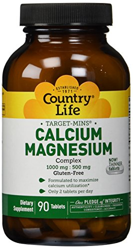 Magnesium 90 Tablets (Country Life Target Mins Calcium-Magnesium  Complex 1000  Mg-500 Mg Per 2 Tablets),)
