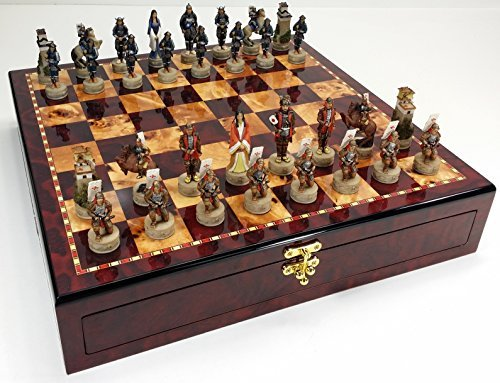 Japanese Samurai Warrior Oriental Chess Set W/ High Gloss Cherry & Burlwood Color Storage Board 17