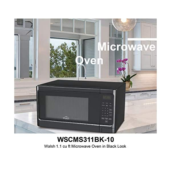 Walsh WSCMS311BK-10 Countertop Microwave Oven, 6 Cooking Programs LED Lighting Push Button, 1.1 Cu.Ft/1000W, Black 2