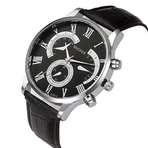 Pocciol Men's Cool Retro Design Leather Strap Quartz Alloy Analog Wristwatch Clock (Black) by Pocciol (Image #1)