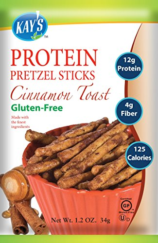 Gluten Free Cinnamon Stick - Kay's Naturals Protein Pretzel Sticks, Cinnamon Toast, Gluten-Free, 1.2 Ounce (Pack of 60)