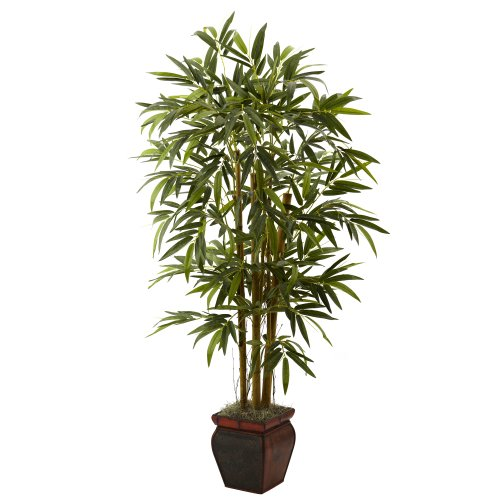 Nearly Natural 5928 5.5-Feet Bamboo with Decorative Plant...