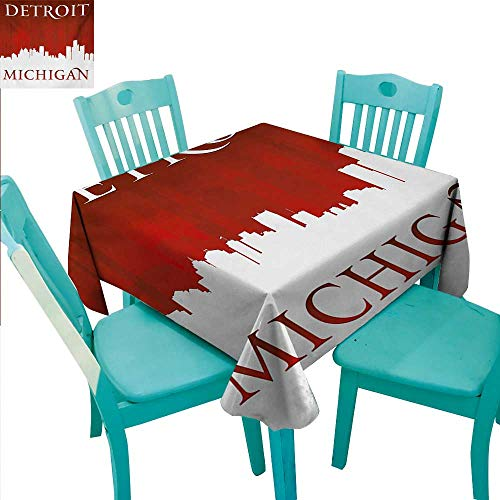 Detroit Decorative Textured Fabric Tablecloth Michigan City Silhouette Red and White Composition with Classical Typography Washable Polyester - Great for Buffet Table, Parties, Holiday Dinner, Weddin ()