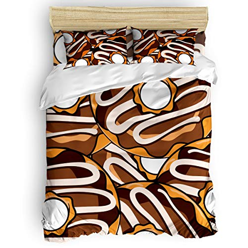 (Full Duvet Cover Set Comfortable Bedding Sets for Women Men Adults,Cute Chocolate Donut Pattern,Orange and White Kids Bed Sheet Sets,Include 1 Flat Sheet 1 Duvet Cover and 2 Pillowcases (4pcs))