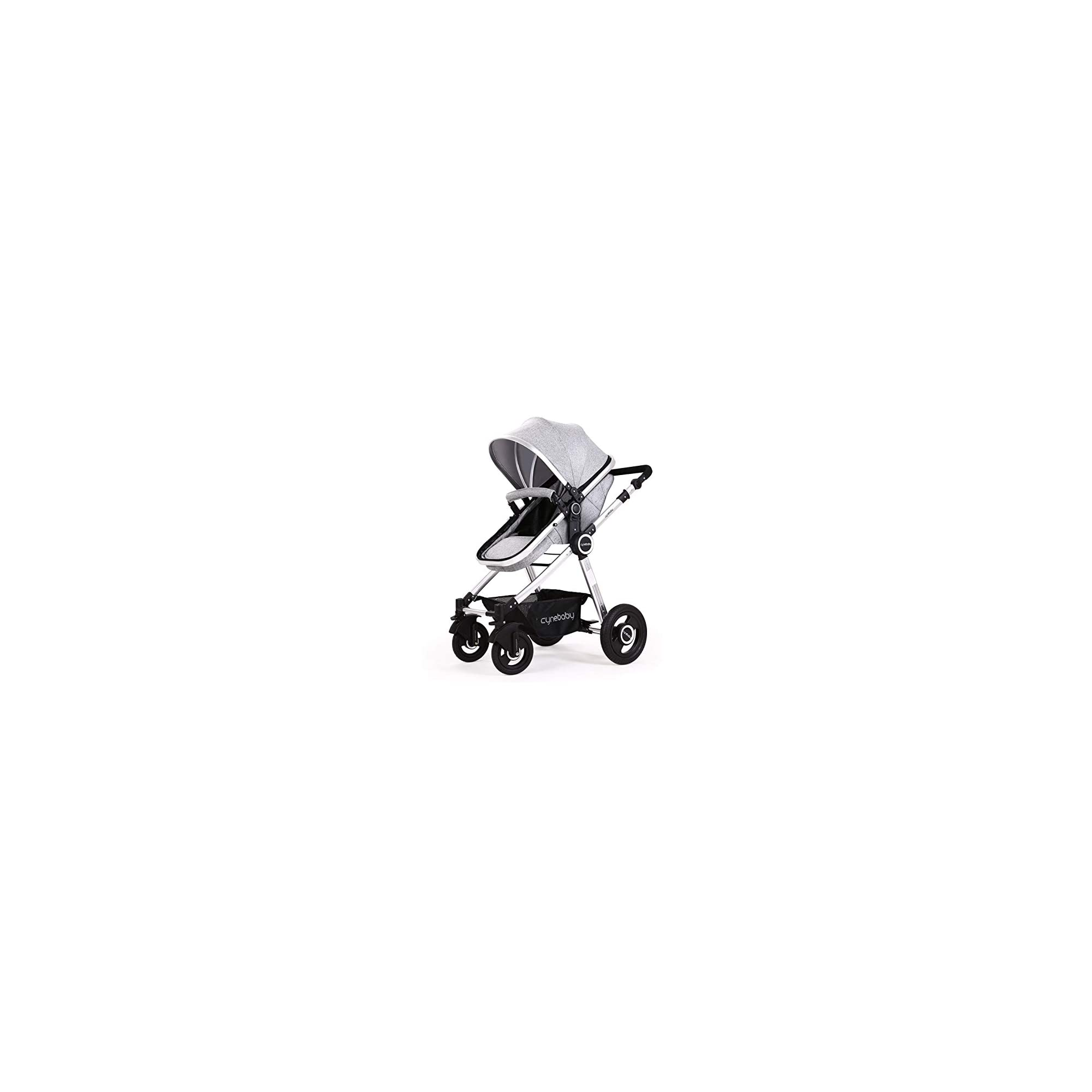 Baby Stroller Bassinet Pram Carriage Stroller – Cynebaby All Terrain Vista City Select Pushchair Stroller Compact Convertible Luxury Strollers add Foot Cover (Fresh Grey)