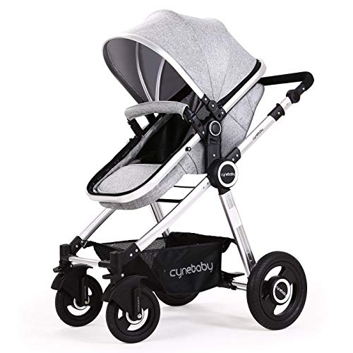 - Baby Stroller Bassinet Pram Carriage Stroller - Cynebaby All Terrain Vista City Select Pushchair Stroller Compact Convertible Luxury Strollers add Foot Cover (Fresh Grey)