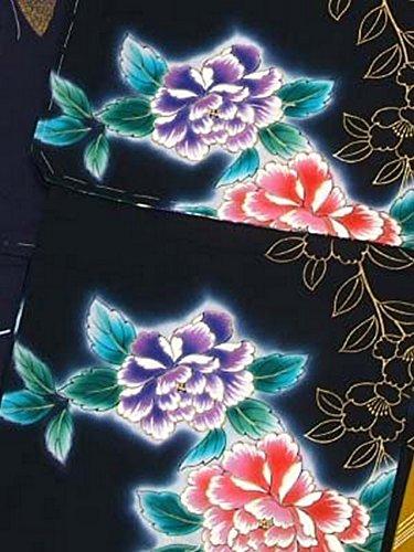 額あらゆる種類のベルベット女 浴衣 特殊サイズ(Lサイズ) スクリーン染 レディース 日本製 小幅反物 半