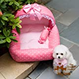 Colorfulhouse Princess Bed Design Puppy Bed Soft Suede Dog House Bed, Small 18-Inch By 19-Inch (Princess Pink)