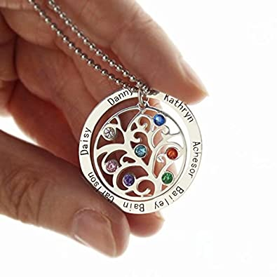 Zoungh Personalized Family Tree Necklace Birthstones Pendant Birthstone NecklaceGold Tone Tree Branch Charm Gift Boxed