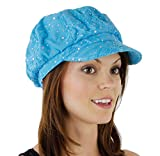 #8: Glitter Sequin Trim Newsboy Style Relaxed Fit Cap, Turquoise