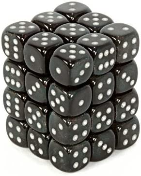Amazon Com Chessex Dice D6 Sets Borealis Smoke With Silver 12mm Six Sided Die 36 Block Of Dice Toys Games
