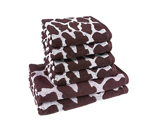 Brown Animal Pattern (100 % cotton, Jacquard Yarn Dyed Colorful Brown Animal Design Towel set, Light Weight Lint free, 6-Piece Towel Set (2 Bath Towels, 4 Large Hand Towels))