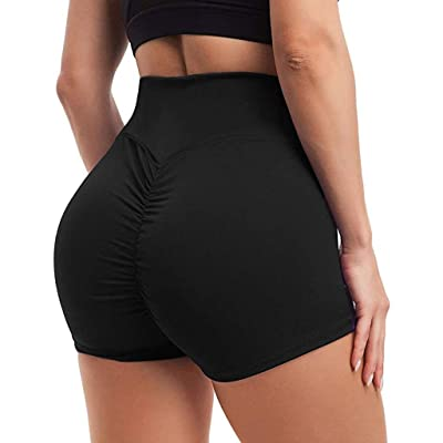 POPNINGKS Women Breathable Yoga Pants,High Waist Workout Leggings Hips Sports Yoga Shorts Running Pants Active Shorts 1 Pack: Clothing