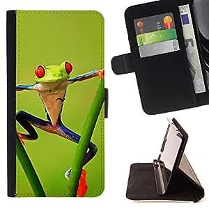 For Samsung Galaxy S6 EDGE (NOT S6) Plus / S6 Edge+ G928 Case , Gimnasio Aerobics Frog Forest Green Amazon- la tarjeta de Crédito Slots PU Funda de cuero Monedero caso cubierta de piel