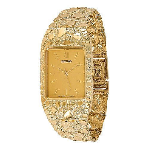 14k Mens Squared Champagne 27x47mm Dial Solid Nugget Watch, Best Quality Free Gift Box